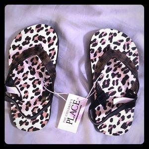 Little Girls Leopard Print Flip Flops